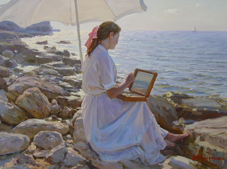 On the etudes (for order), Alexandr Averin- drawing girl, umbrella, sea, rocky coast, painting