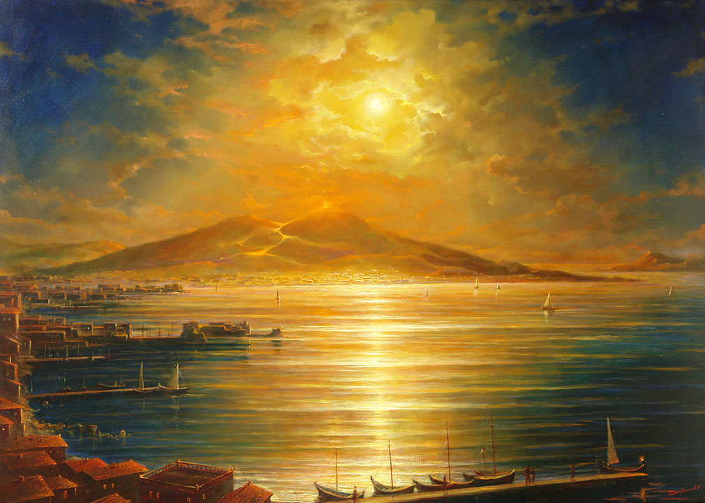 Gulf of Naples. The moon and the volcano, George Dmitriev- Night seascape, Italy, Mount Vesuvius, painting, realism