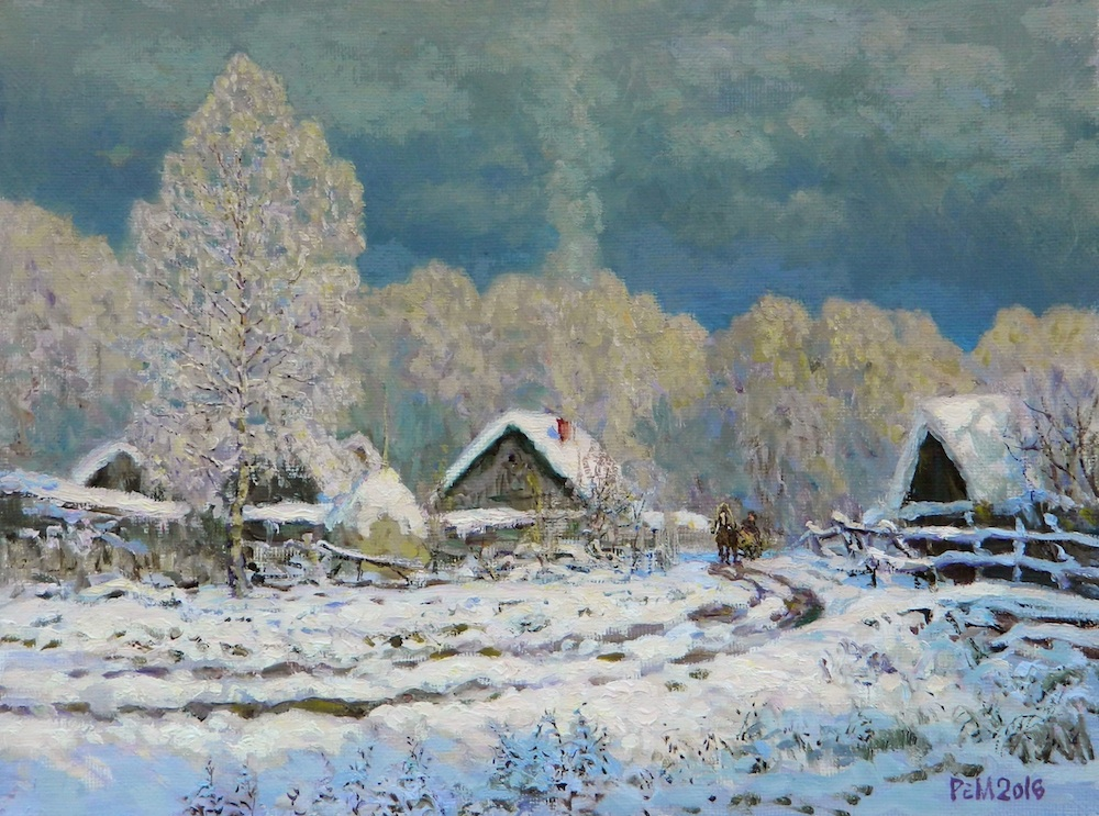 Frost #2, Rem Saifulmulukov- painting, winter, village, trees in snow,fueled stove,realim