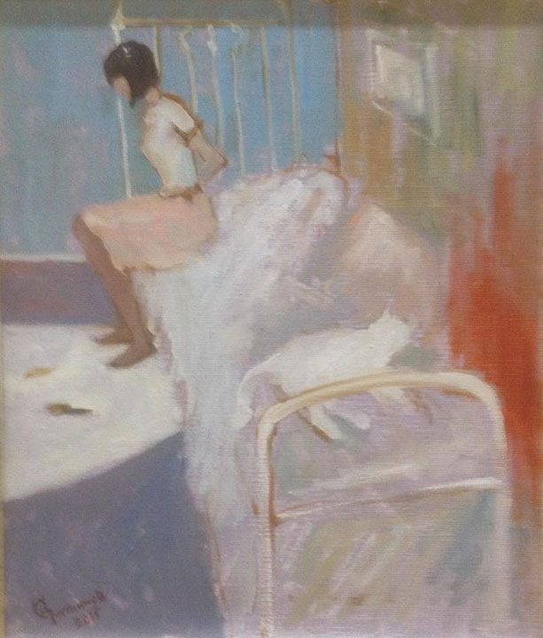 White Cat Sleeping, Sergey Postnikov- sitting girl, room, bed, genre painting