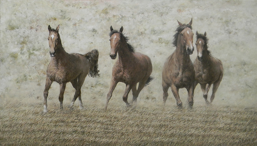 Horse # 1, Andrey Sitsko- painting, running horses on a walk, realism