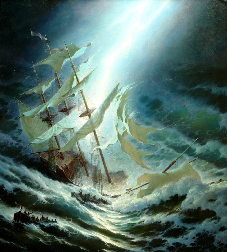 Lightning, George Dmitriev- painting, raging sea, shipwreck, storm, elements