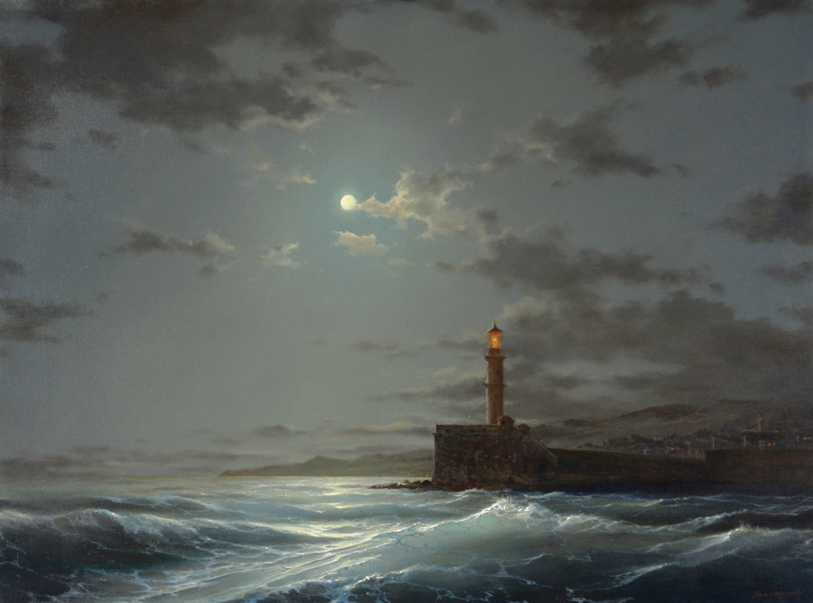 Old Lighthouse. Crete, George Dmitriev- painting, sea, Greece, lighthouse, moonlit night, island