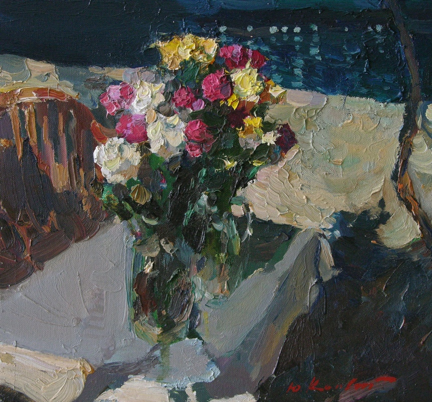 Flowers, sea, night, Yuri Konstantinov