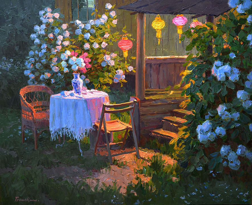 Evening still life, Evgeny Balakshin- dacha, evening, flowers, table, paper lanterns, painting