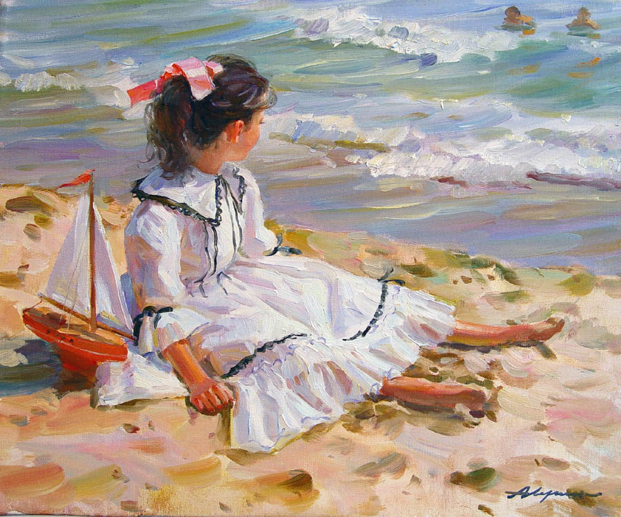 Caressing sun, Alexandr Averin- girl on the sand, seashore, waves, Impressionism painting