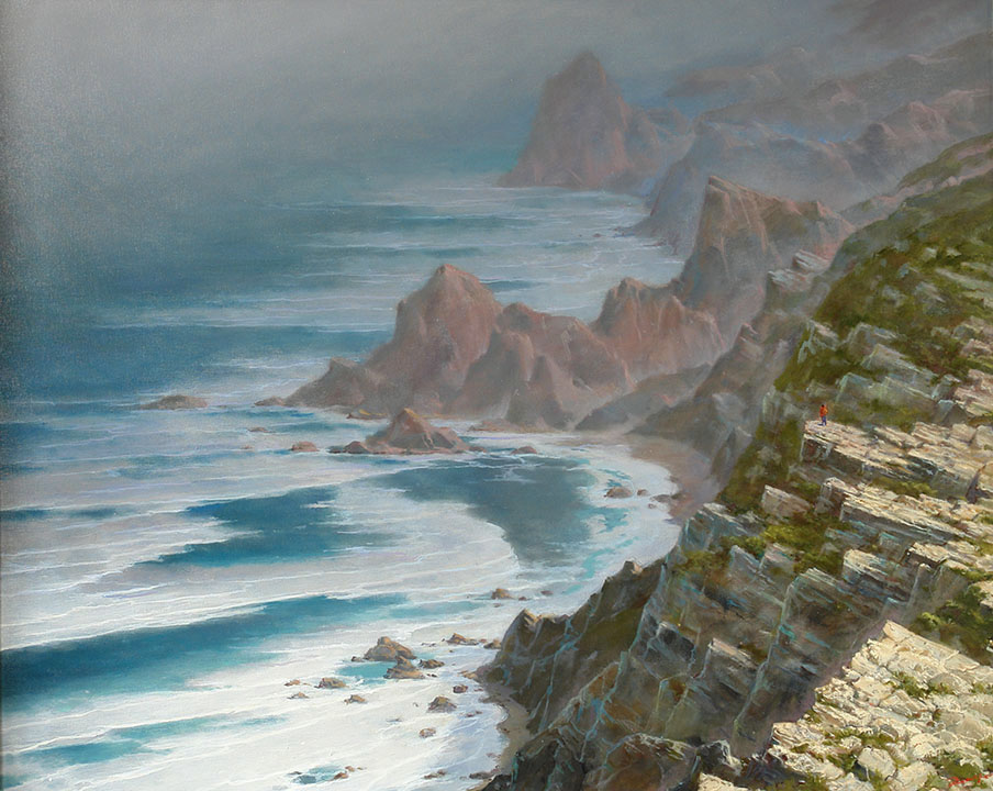 Ocean Breath. At the edge of the earth. CABO DA ROCA, George Dmitriev- the rocky shore, people, painting, Portuguese seascape