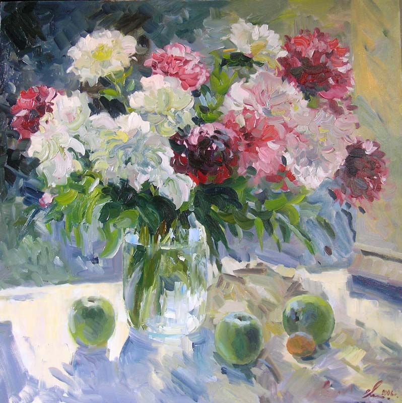 Peonies and apples, Eugeni Malykh