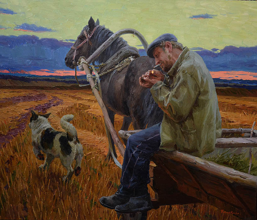 Of the field, Evgeny Balakshin- painting, Russian village, field, farmer, horse, autumn