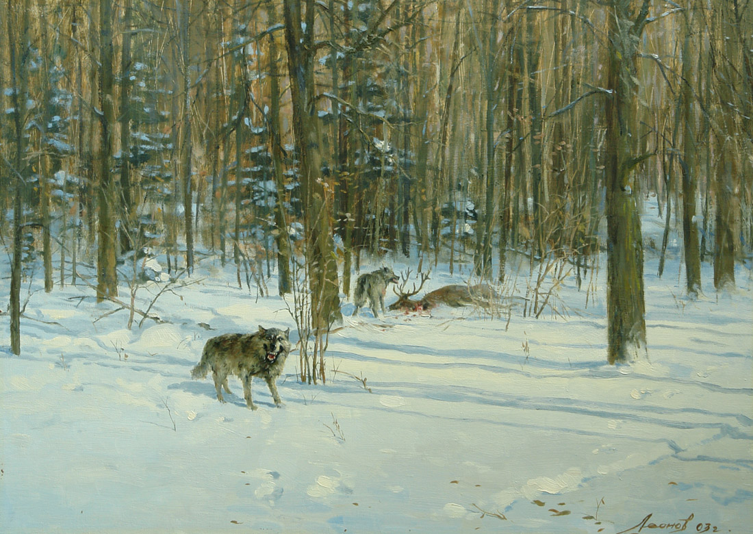 Wolves, Oleg Leonov- painting, winter forest, hunting wolves, snow, realism