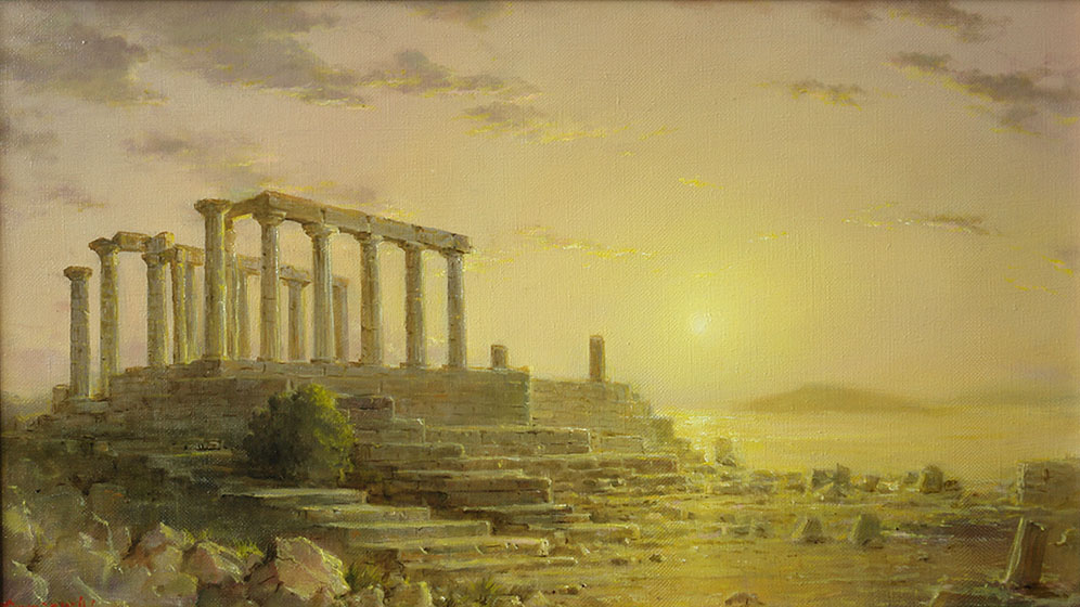 Warm evening. Temple of Poseidon at Cape Sounian, George Dmitriev