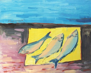 Fishes on yellow paper