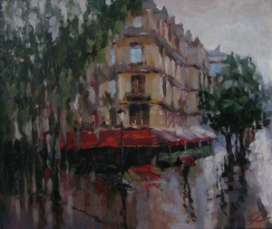 Rain outside the window.Paris