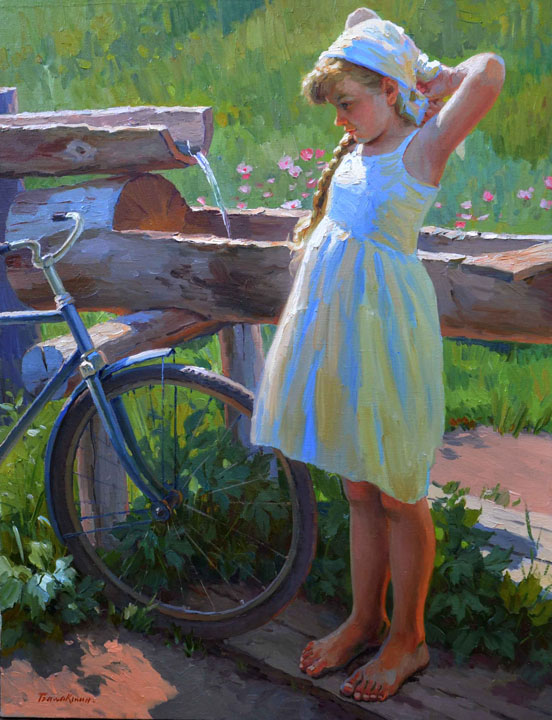 July noon, Evgeny Balakshin- Summer, heat, water, wellspring, cool water, girl, painting
