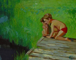 Children beside pond