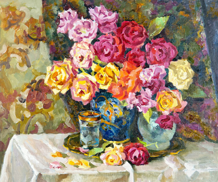 Roses in the dark blue vase, Valeri Izumrudov