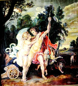 Venus and Adonis, the copy from Peter Rubens's work