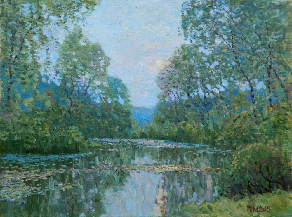 At dawn, Rem Saifulmulukov- painting, summer, forest, river, morning, peace, realism