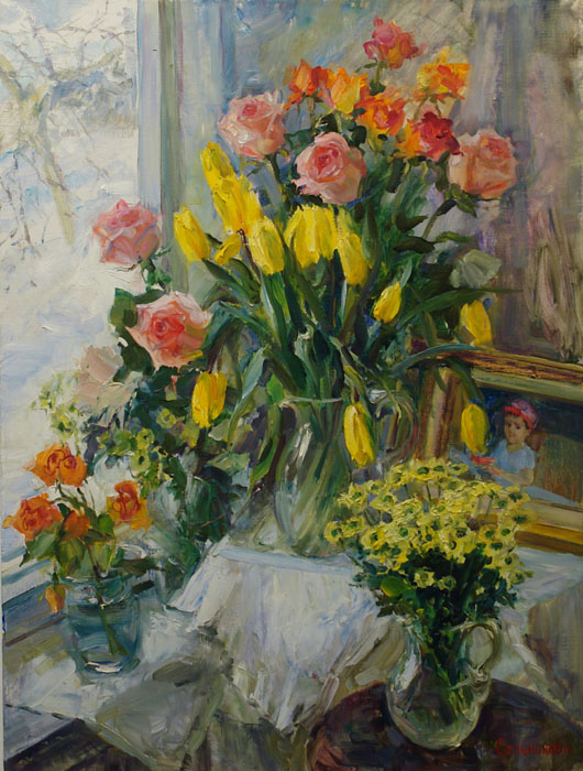 After an exhibition, Elena Salnikova- pictures, flower bouquets, celebration, roses, tulips