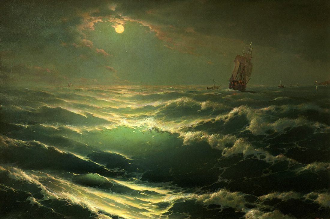 Moonlight on sea, George Dmitriev- painting, seascape, lunar path, ships, waves, realism