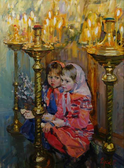 Palm Sunday, Vladimir Gusev- painting girl, church, candle, celebration, willow, spring