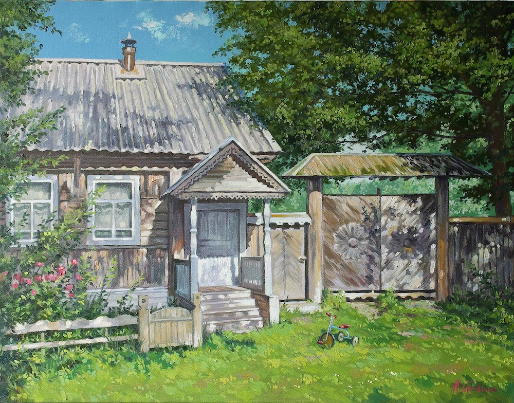 Artist's house, Mikhail Brovkin- painting, summer day, a quiet place to work, a house