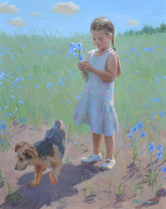 Bouquet of cornflowers, Evgeny Balakshin- painting, summer day, the girl with a dog, wild flowers