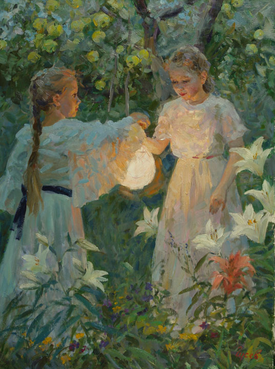 In the garden, Vladimir Gusev- picture, girl, evening, apple, torch, lilies, flowers