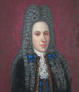 Portrait of the unknown person in a wig