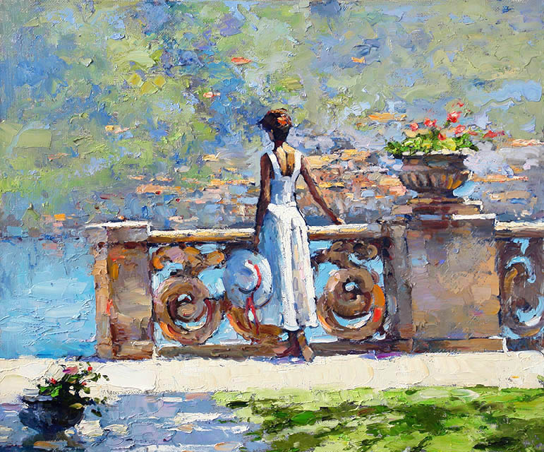 Como, Alexi Zaitsev- girl on the shores of lake como, painting, impressionism