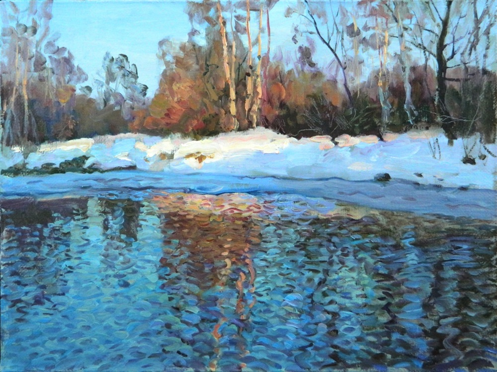 Spring stream, Rem Saifulmulukov- painting, spring, forest, stream, the snow melts, realism