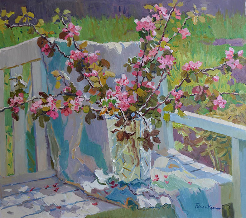 Apple tree branches, Evgeny Balakshin- flowering branches apple tree, vase, paintings of impression