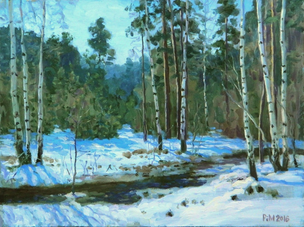 Forest stream, Rem Saifulmulukov- painting, winter, forest, Russian birch trees, realism, land