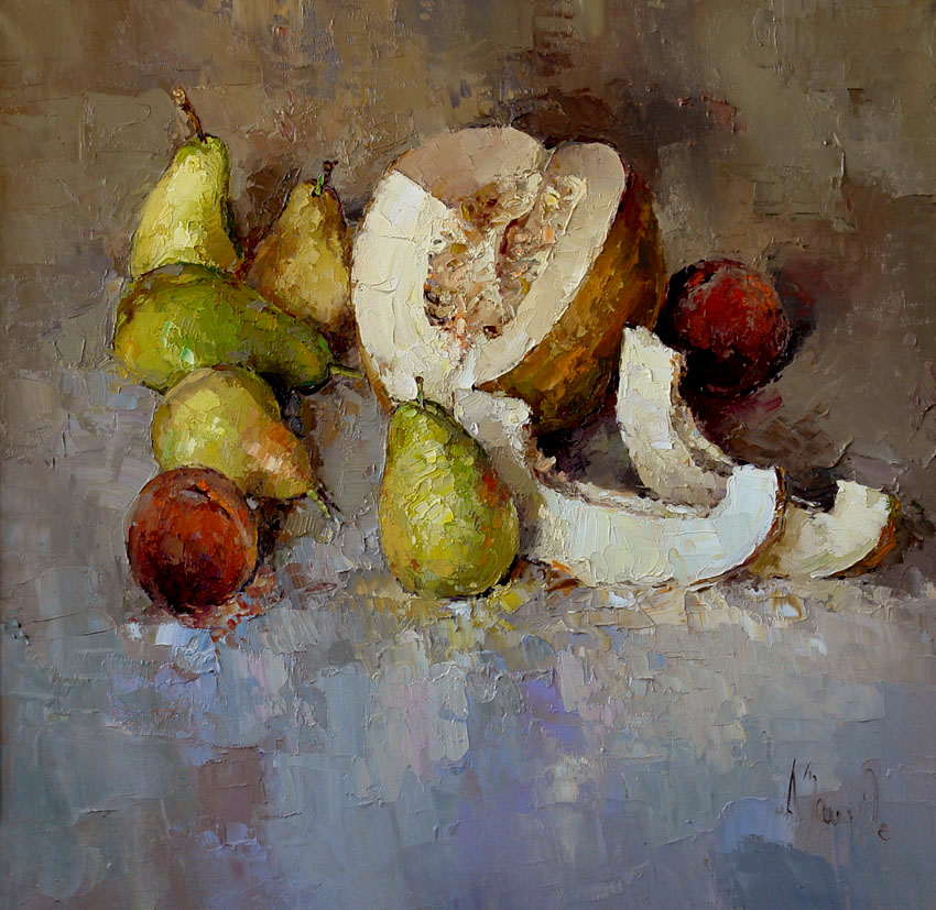 Still-life with the melon and the pears, Alexi Zaitsev