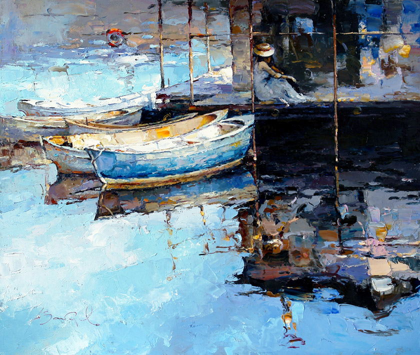 Waiting, Alexi Zaitsev- boats at the pier, painting, impressionism, girl, reflection