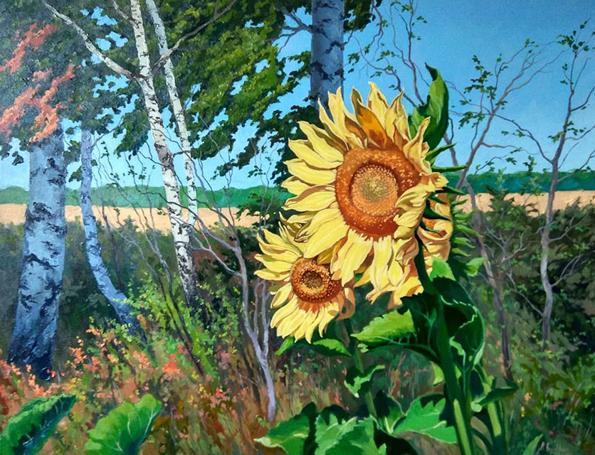Sunflowers in the wind, Mikhail Brovkin