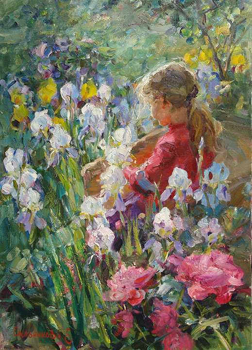 Among the flowers, Elena Salnikova- painting with girl, impressionism, blooming irises, peonies