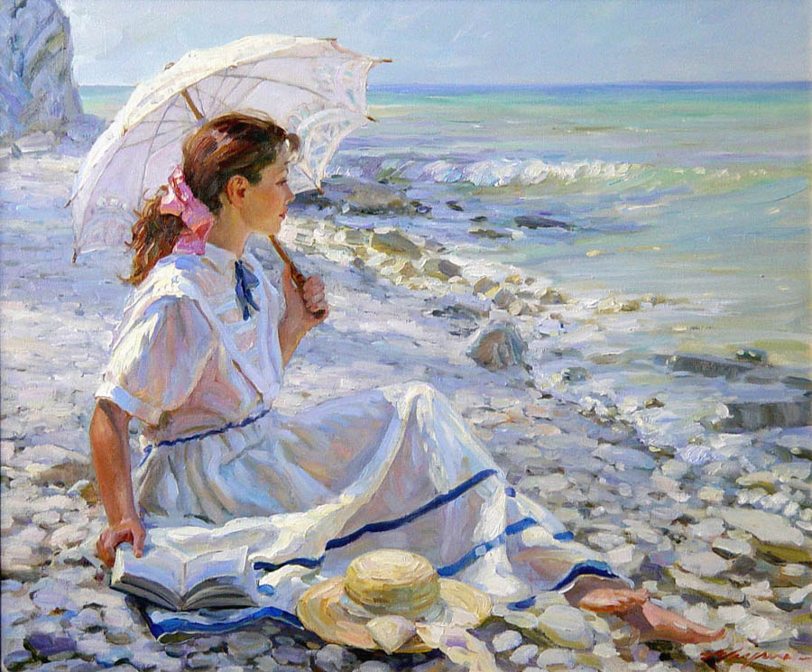 Dreaming (to order), Alexandr Averin- painting, girl on the beach, umbrella, impressionism