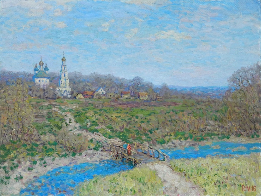 Landscape with Church, Rem Saifulmulukov- painting, summer, village, church, a bridge across the river