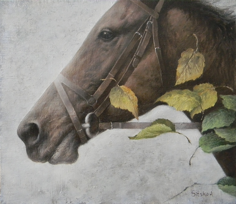 Portrait with leaves, Andrey Sitsko- painting, horse head, autumn leaves