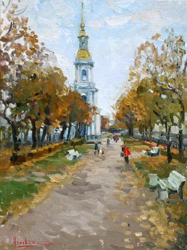 The campanile of St. Nicholas Cathedral. St. Petersburg, Sergei Lyakhovitch- painting Saint Petersburg, the temple, the trees fall outfit