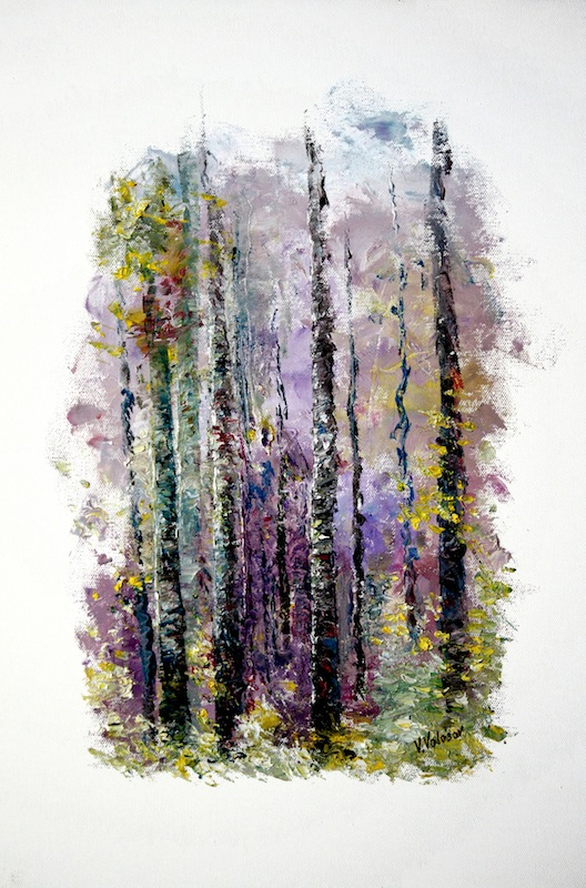 Lilac Forest, Vladimir Volosov- painting, fairy forest, white birch,landscape, impressionism