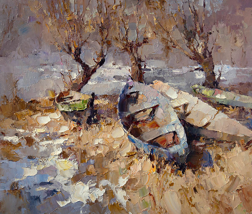 Spring. Boats, Alexi Zaitsev- painting, boats on the ground, three trees, impressionism