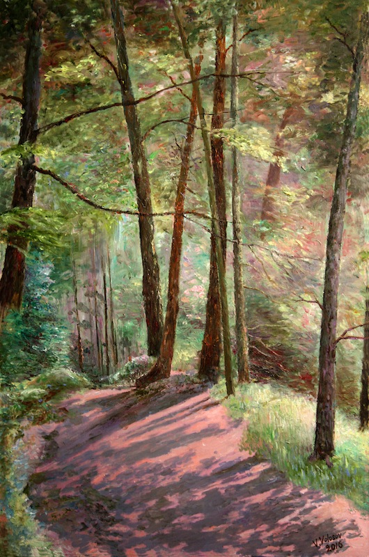 Day is Dying, Vladimir Volosov- painting, forest path, trees, shade, sunny day
