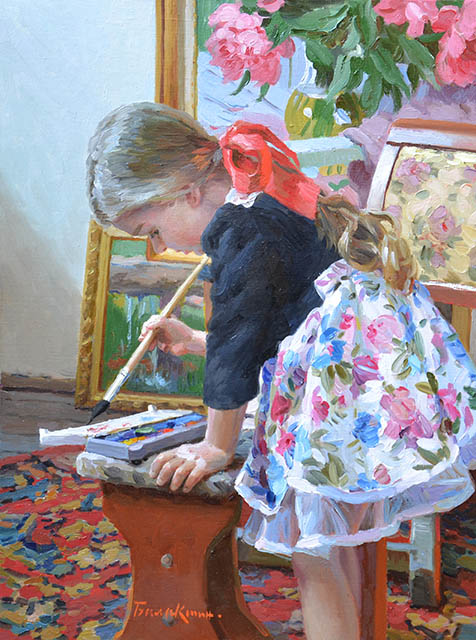 In the workshop, Evgeny Balakshin- painting girl, modern impressionism