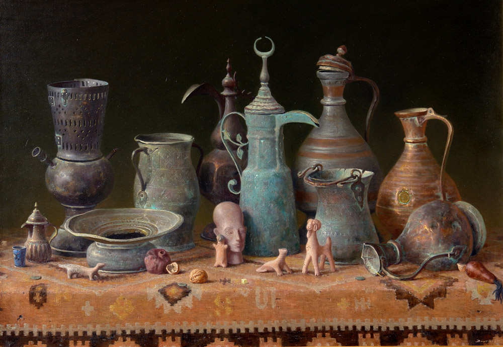 Toys of desert (to order), George Dmitriev- painting, still life, old jars, figurines, table, East