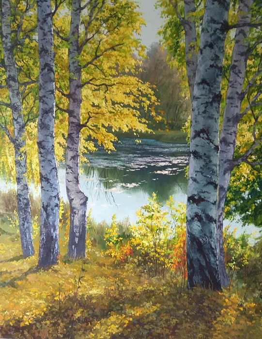 Birches, Mikhail Brovkin- painting, Russian birch trees, a lake in the forest