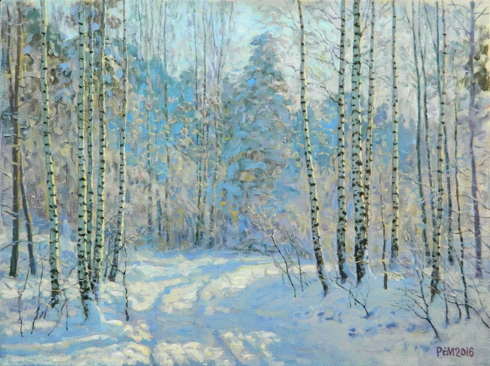 Frost. Birches, Rem Saifulmulukov- painting, winter, fairy forest, birch Russian, realism