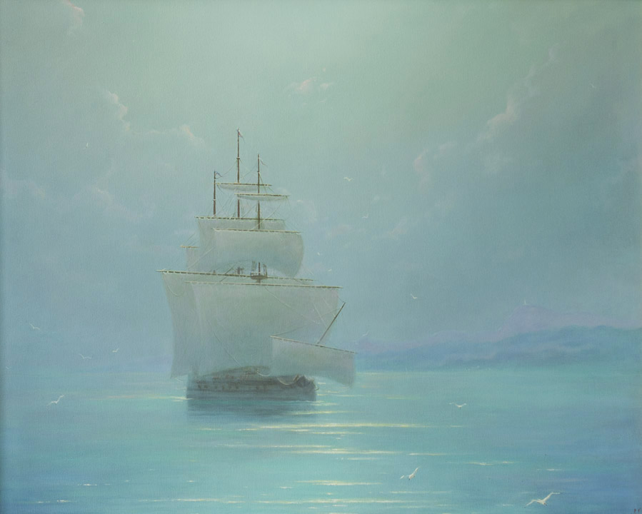 Morning sea, George Dmitriev- painting, morning, sea, sailboat, lighthouse, seagulls, calm