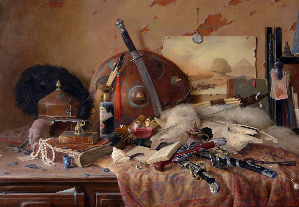 Still life with butterfly, George Dmitriev- picture, shield and sword, book, still life with old things